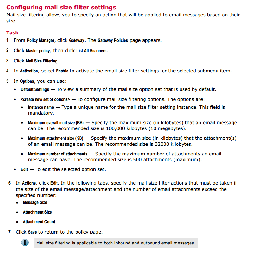 A denial of service protection limit was exceeded. The file has been removed | Mcafee Security for Microsoft Exchange