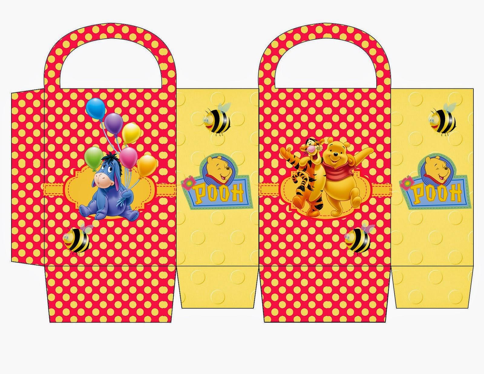 Winnie the Pooh: Bolsa de Papel para Imprimir Gratis.
