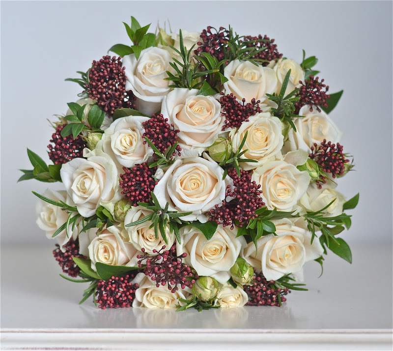 Wedding Flowers Blog: Anna\'s Winter Wedding Flowers, Cream and Burgundy