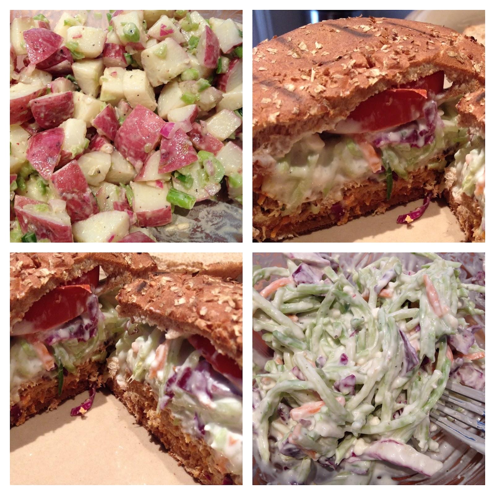 buffalo turkey burgers with blue cheese broccoli slaw + potato salad