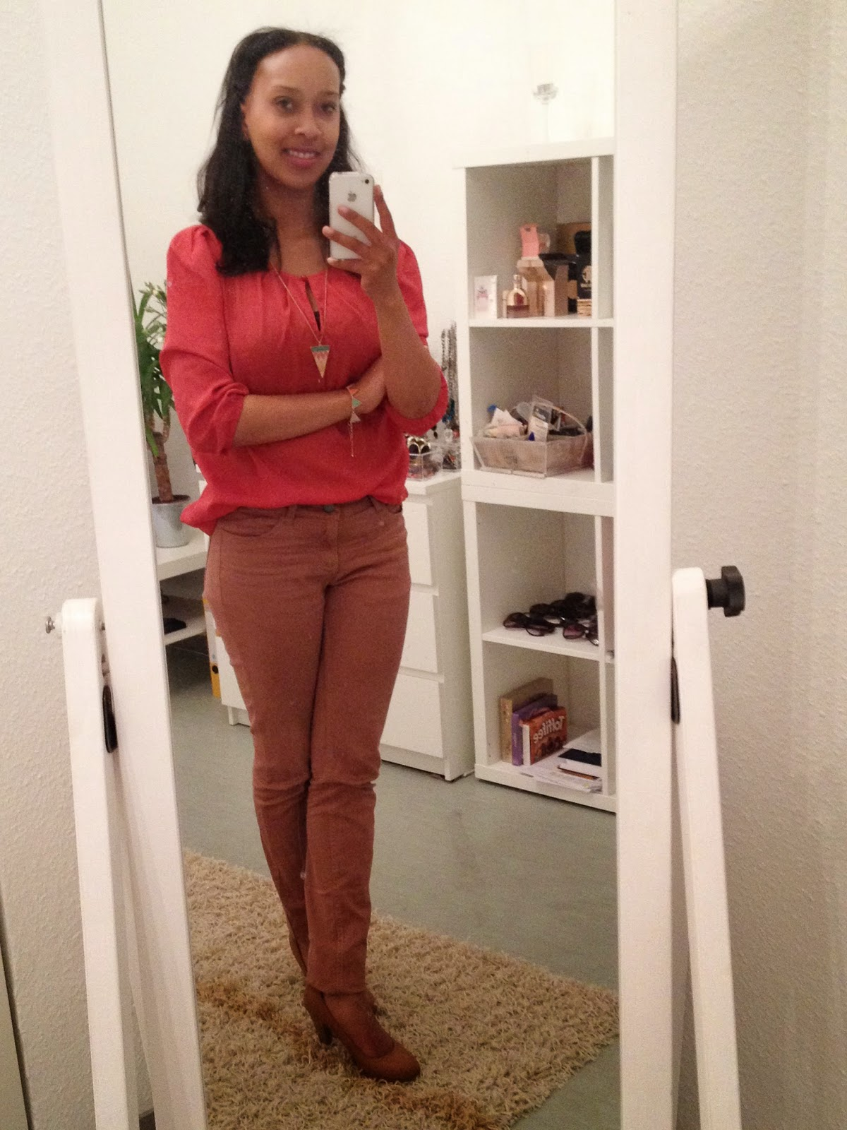 OUTFIT: CORAL BLOUSE AND TRIANGELS PRIZMAHFASHION