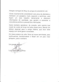Mais uma carta do Presidente  Lula