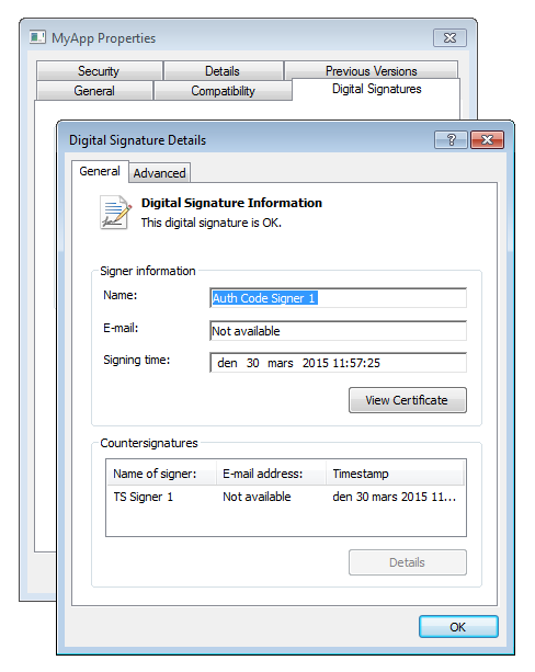Signature details of a signed executable file.