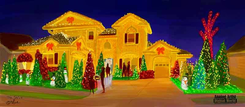 once a year i seek out the best christmas light display in orlando to sketch folks in florida tend to be fanatical about their displays which start going