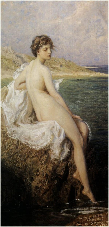 histoire de l'art analyse de tableau james draper naïades sirènes tableaux images romantiques féériques image tableaux de belle femme assise sur un rocher