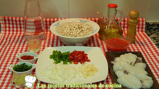 Receta de alubias blancas con sepia