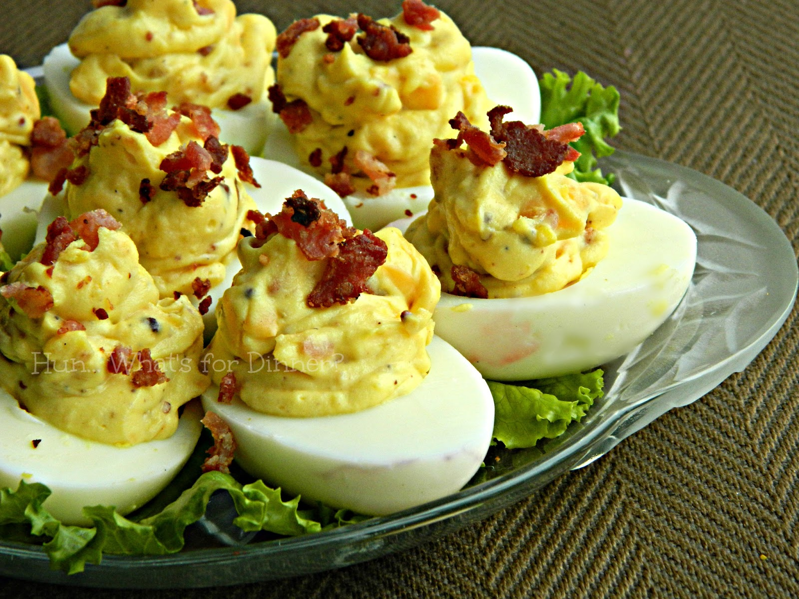 Hun... What's for Dinner?: Bacon Cheddar Deviled Eggs- Recipe Swap