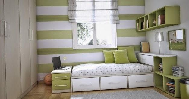ide desain kamar tidur anak dengan warna hijau dan putih