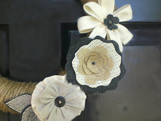 Jute and Burlap Wreath with Flowers