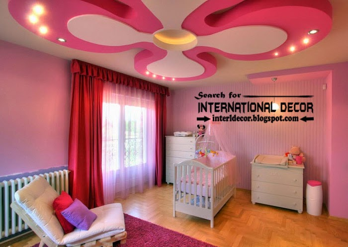 Modern false ceiling designs for kids room, pink ceiling of gypsum
