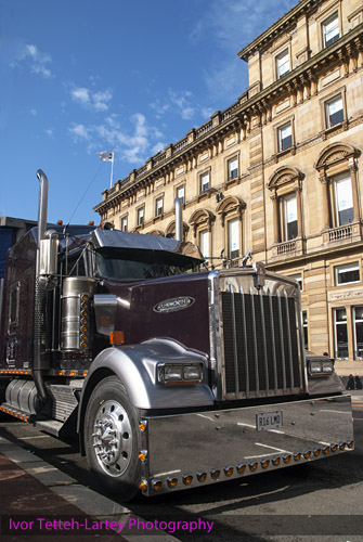 "An American truck parked in Glasgow for the filming og ""World War Z"" in 2011."