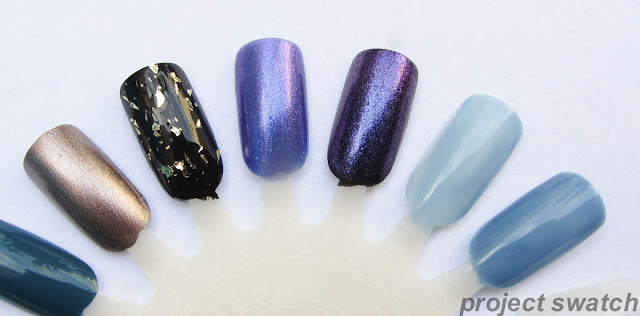 american apparel swatches - bronze dash, meteor shower, violet panache, redondo beach