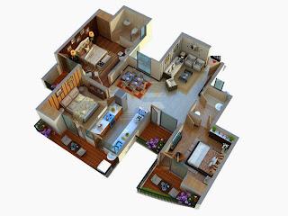 Albaria :: Floor Plans:-3 BHK Super Area - 1596 Sq Ft