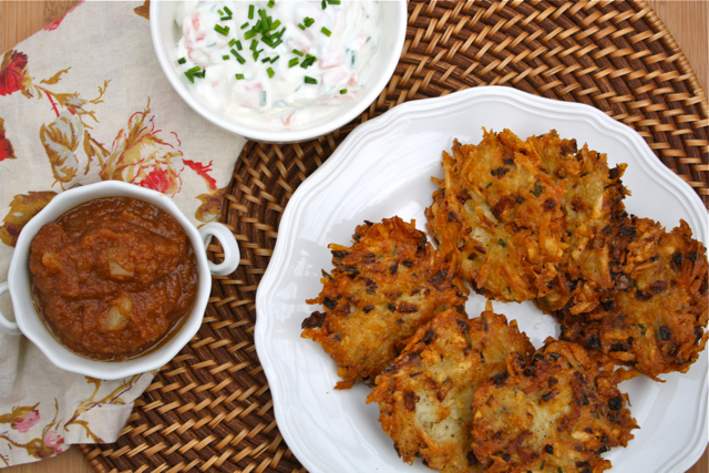 Homemade Latkes with Applesauce and Chive-Lox Sauce
