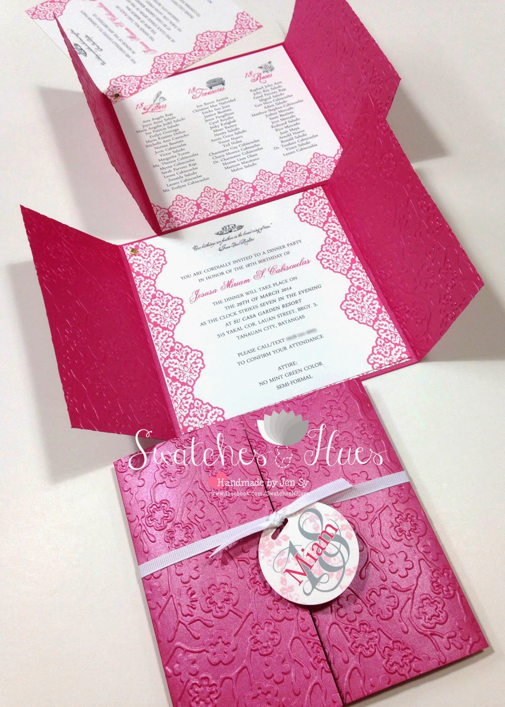 Swatches hues handmade with tlc princess theme gate fold debut here is a gate fold invitation for an 18th birthdaydebut party front panels were embossed for a classy look pages were held together with a gold brad stopboris Choice Image