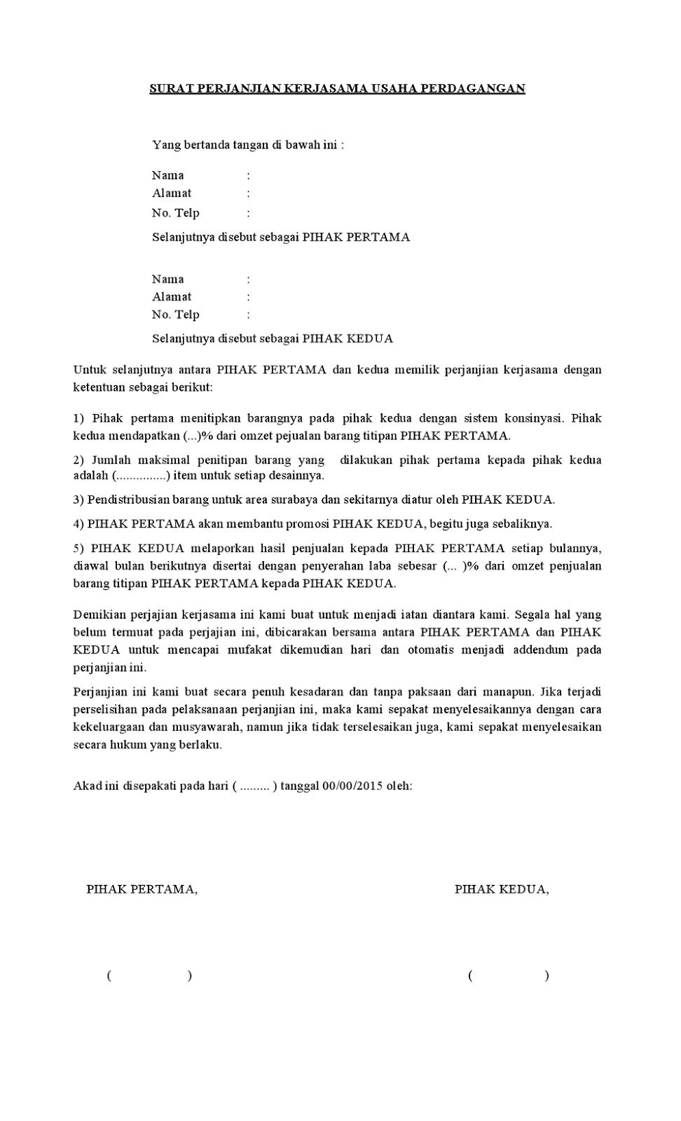 Contoh Surat Perjanjian Kerjasama Usaha Perdagangan Yang Baik dan Benar