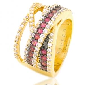 anel de pedras rubi