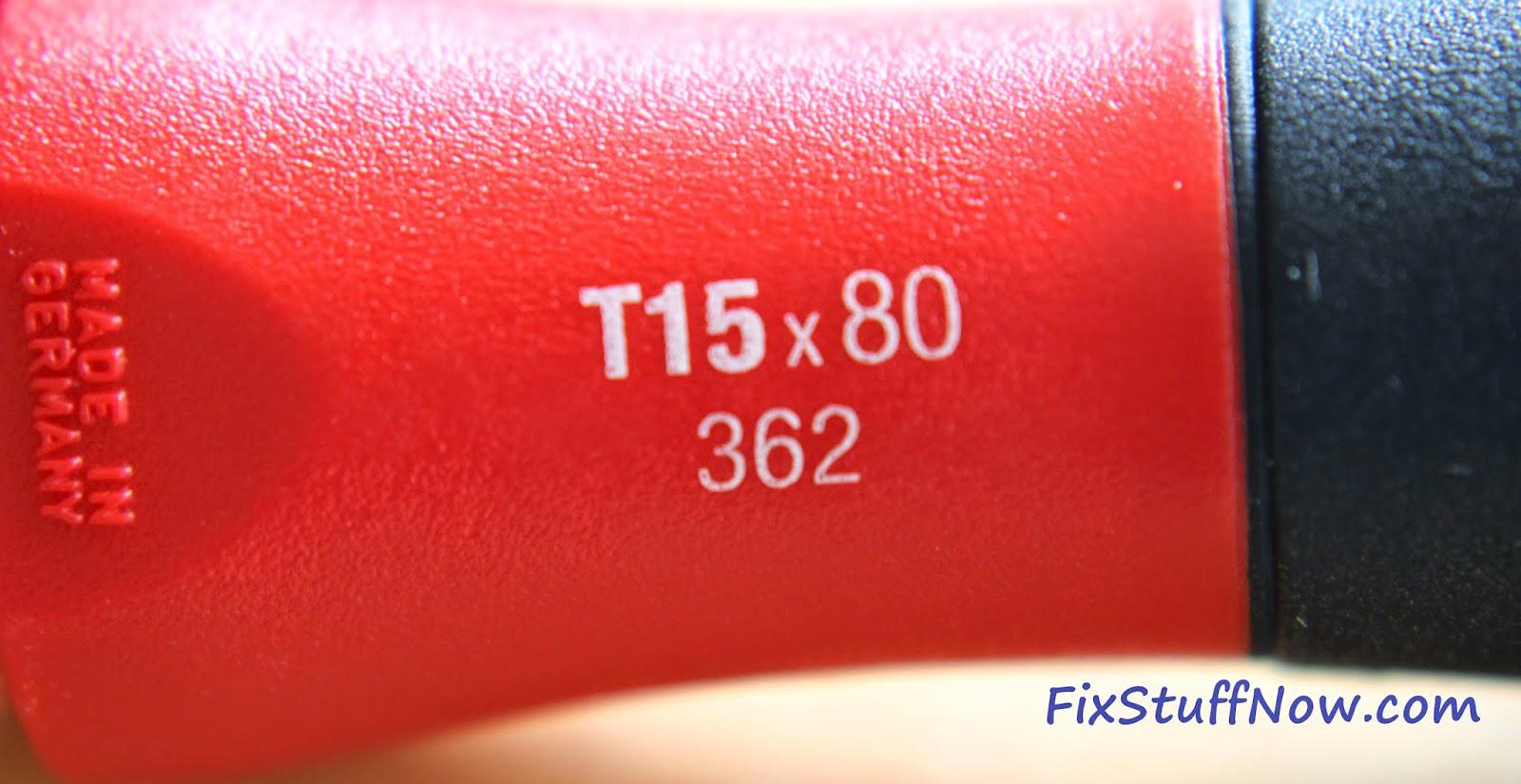 Wiha 36291 Torx Screwdriver Set - Closeup Of Marking