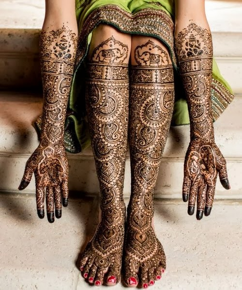 Henna or Mehandi in Bride's hands and legs