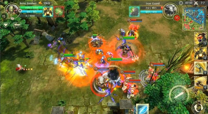 dota themed heroes of order and chaos game in ios and android has