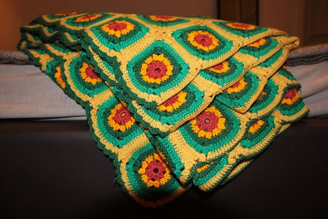 70's Crochet Granny Square Blanket