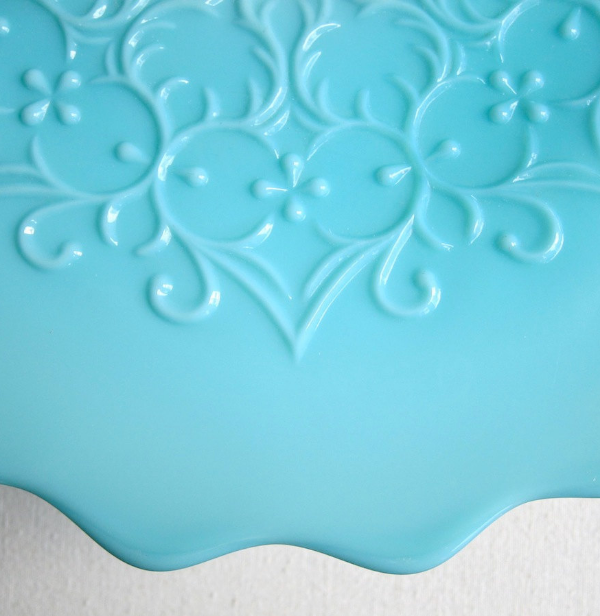 1950s Turquoise Milk Glass Cake Stand #vintage #home #decor