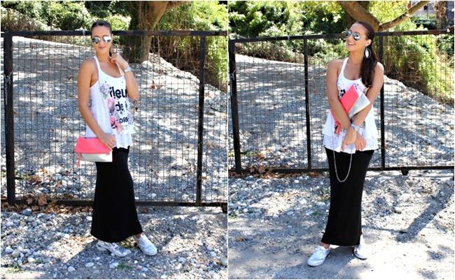 OOTD: Fleur de la passion. Best summer looks. Derpouli top. Sequined sneakers. H&M purse. Fashion and style blogger.
