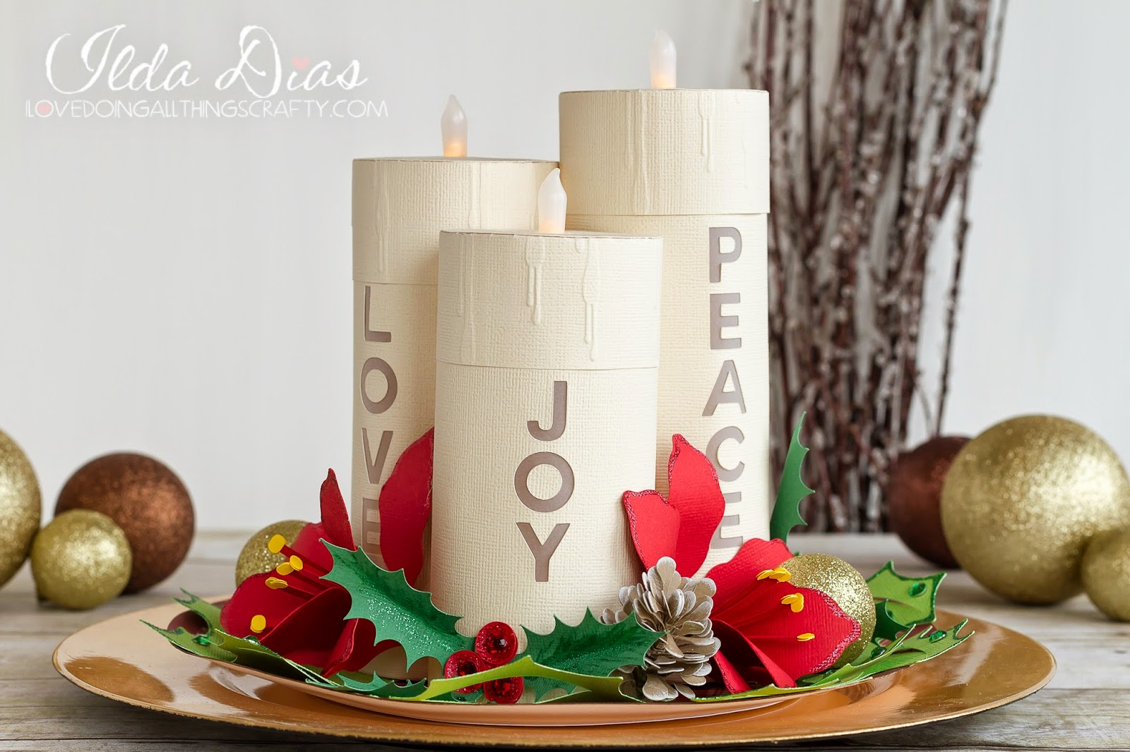 i love doing all things crafty christmas candle centerpiece for