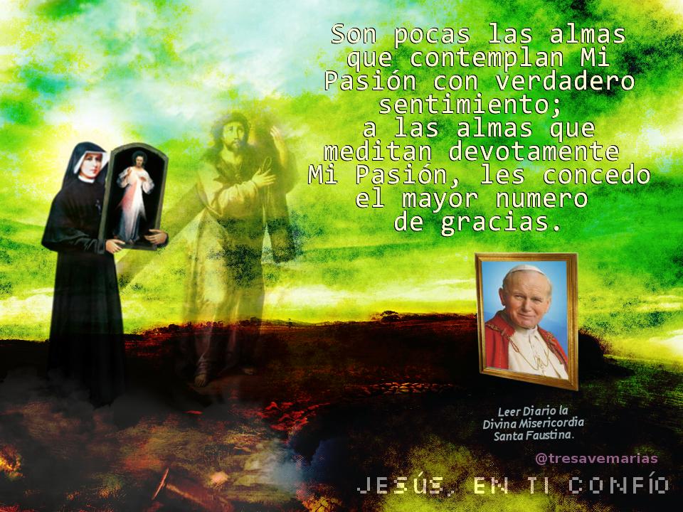 santa faustina con el cuadro de la divina misericordia, jesus cargando cru y papa juan pablo segundo