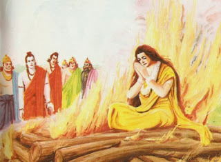 Sita proving her innocence by fire-ordeal as Rama, Lakshmana, Hanuman, Sugriva and Jambavan look on. By rescuing her from the flames, Agni publicly vindicated Sita's honour and they all returned to Ayodhya. Mughal painting, seventeenth century.