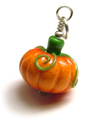 Lampwork Glass Pumpkin Pendant