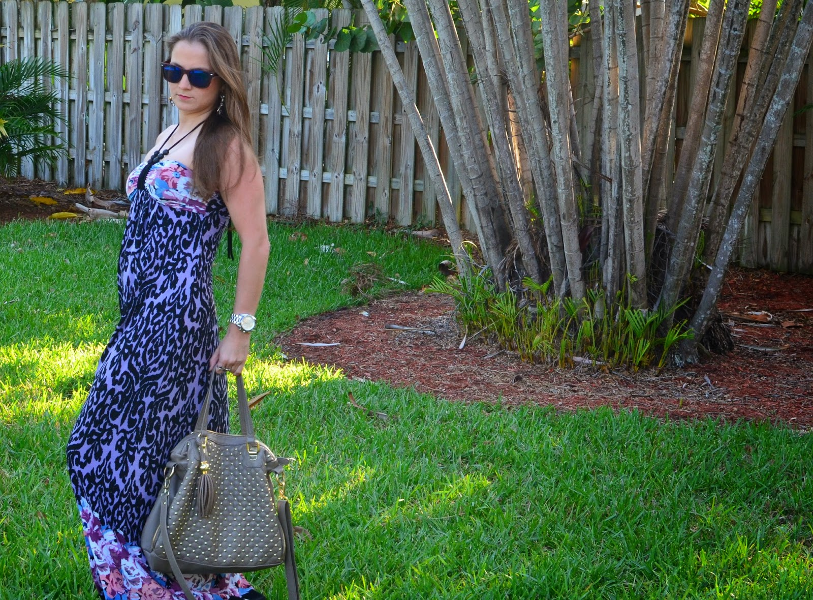 Floral maxi dress - studded bag - mirror wayfarers - Emma & Sophia