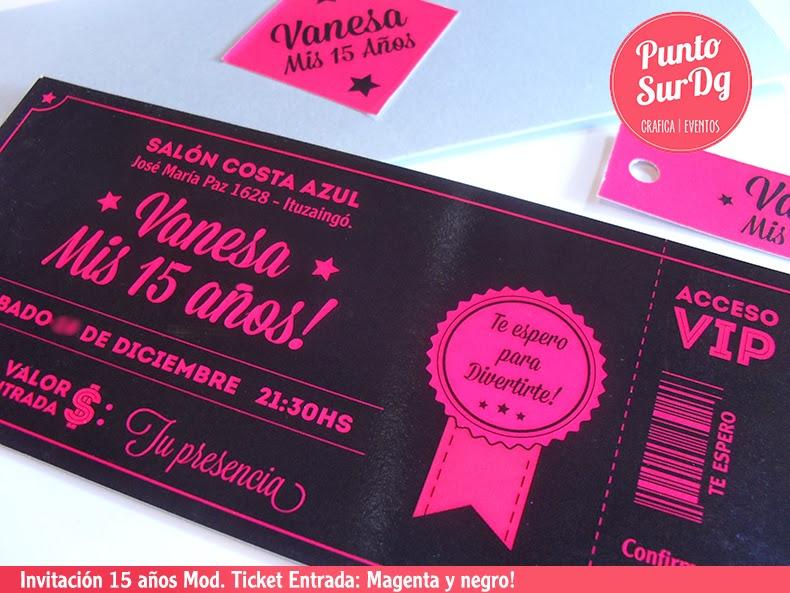 PuntoSur | Gráfica para Eventos: Invitación 15 años Moderna Ticket ...