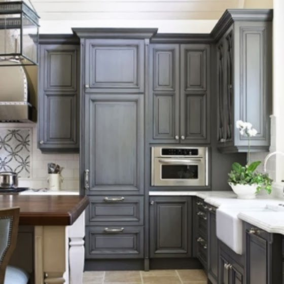 702 hollywood gray kitchens cabinets for Kitchen cabinet color trends