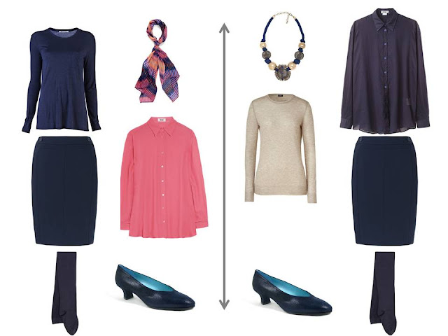 coral blouse with a navy sweater and skirt; navy blouse and skirt with a beige sweater