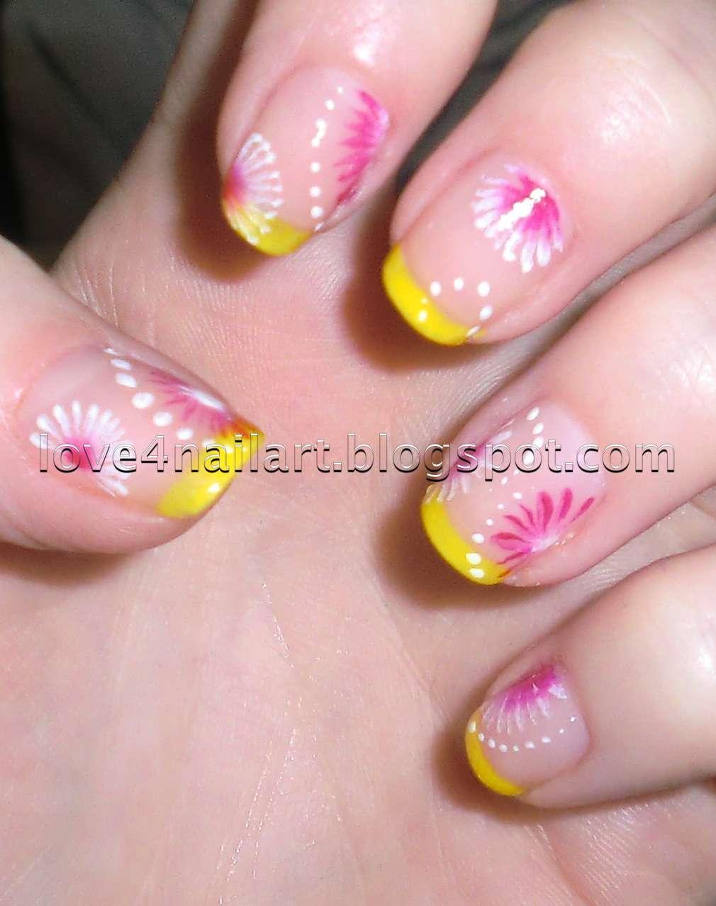 Daisy Flower Nail Design ~ Daisy nails flower