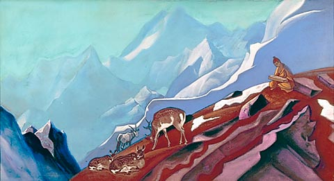 030+Nicholas+Roerich+Book+of+Life+1938+mountain+Buddhist+monk+deer+Asian+landscape+Russian+art+artist+painting.jpg