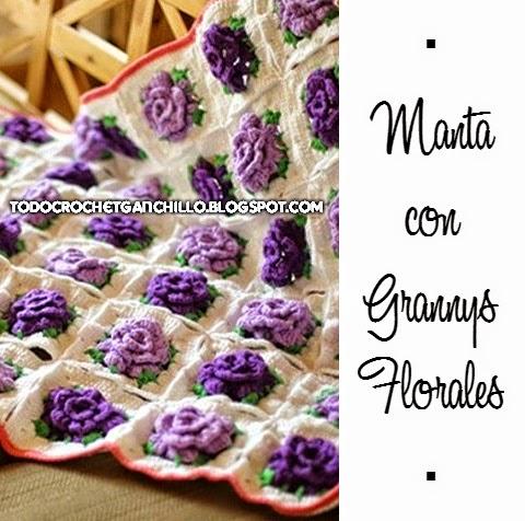 Manta con centro de flor crochet