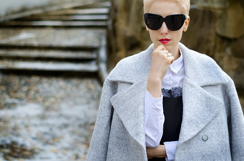 oversized grey coat beeswonderland