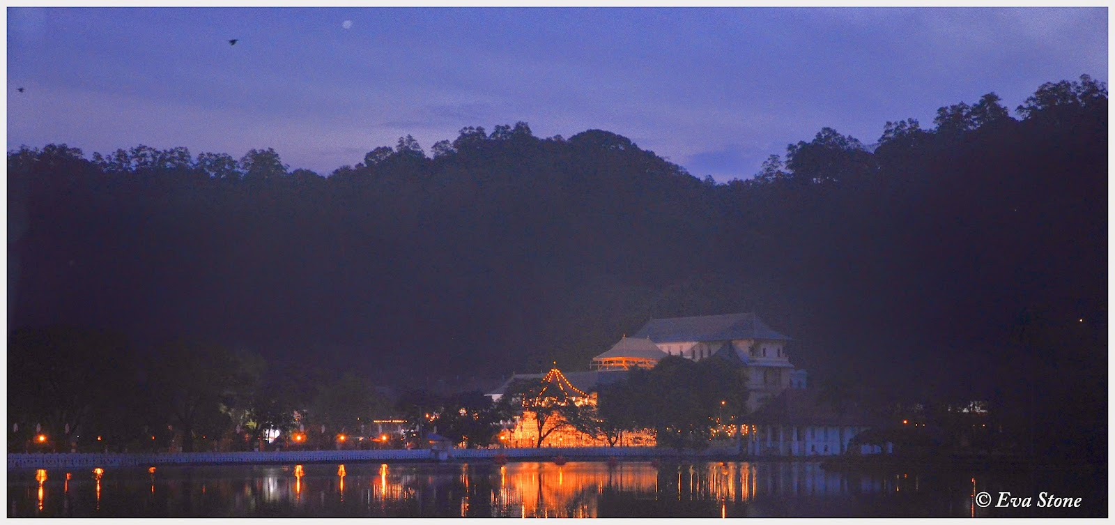 Eva Stone photo, pre-dawn, Wesak, Kandy Lake, Sri Dalada Maligawa, Temple of the Tooth