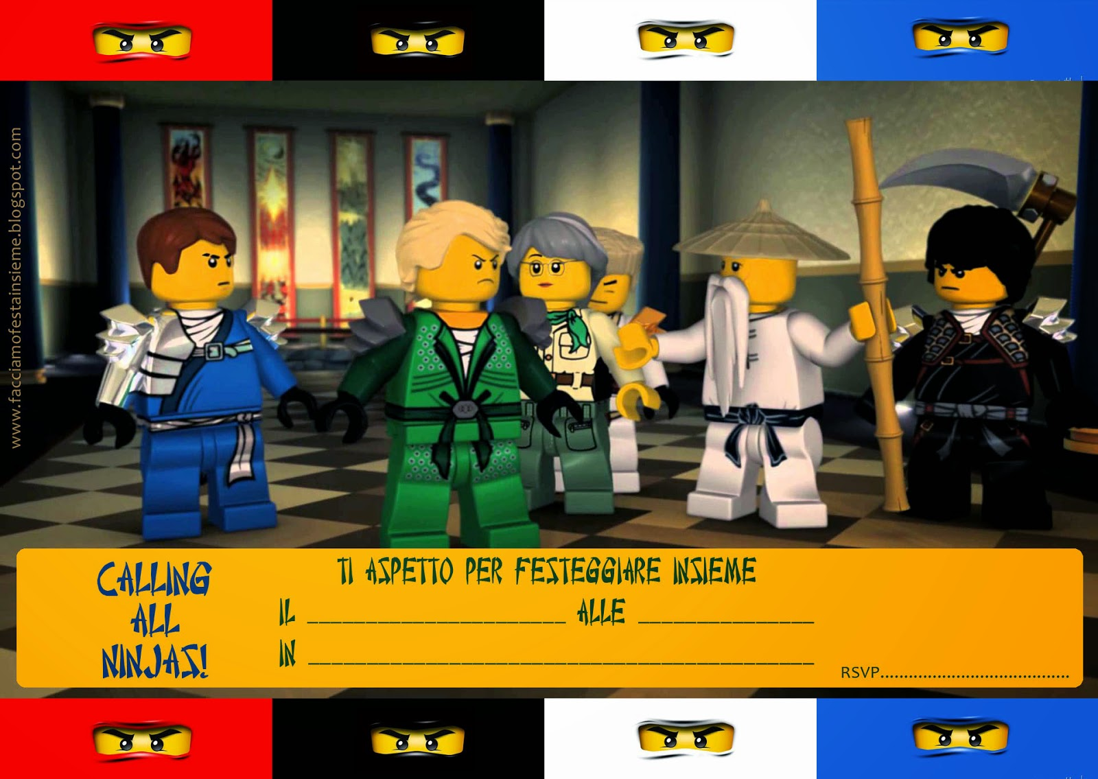 lego ninjago party inviti di pleanno