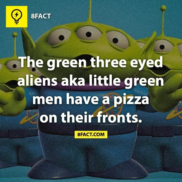 The green three eyed aliens aka little green men have a pizza on their fronts.
