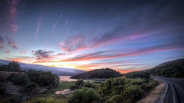 Road Sunset Trees River Landscape HD Wallpaper