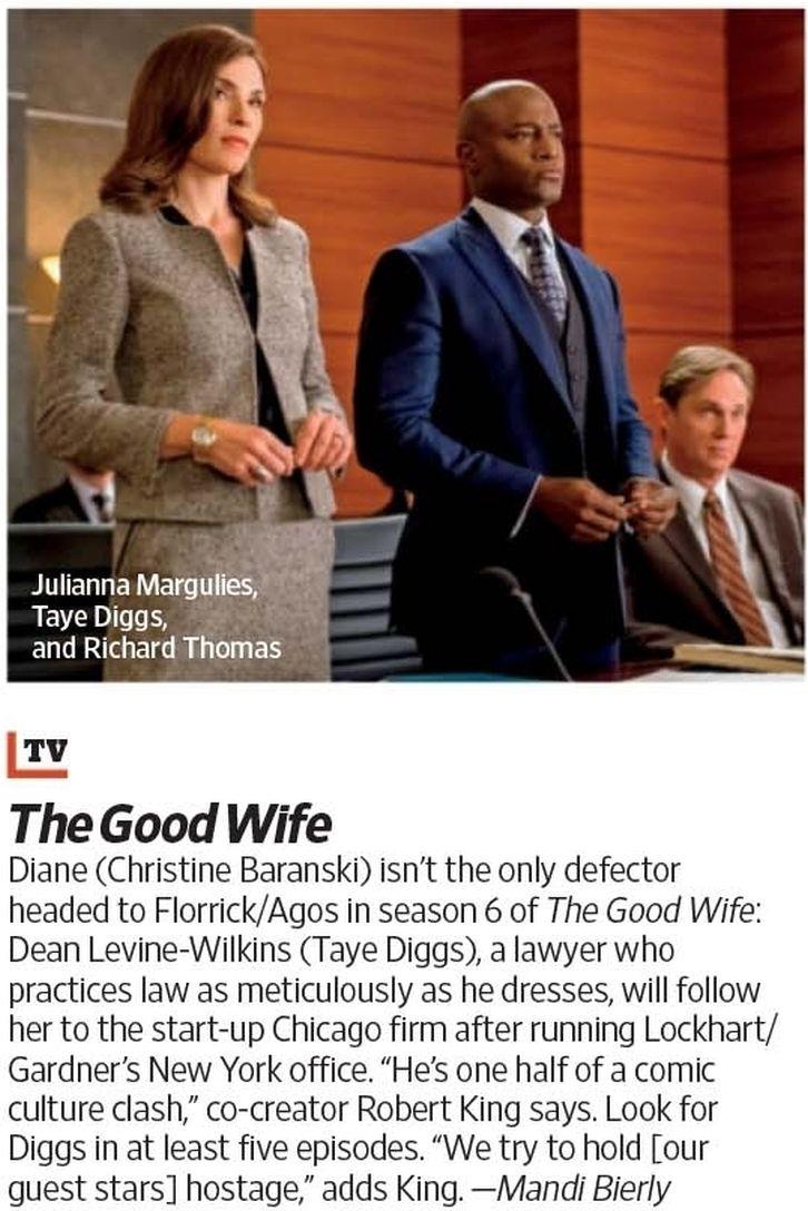 The Good Wife - Season 6 - First Look at Taye Diggs