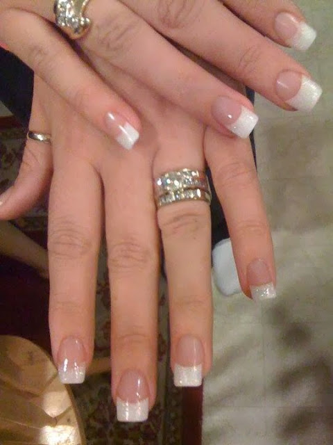 French white glitter tips Acrylic Nail Art. Design
