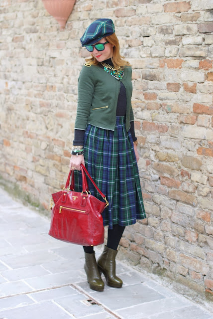 tartan skirt, Prada red tote, tartan hat, Fashion and Cookies, fashion blogger