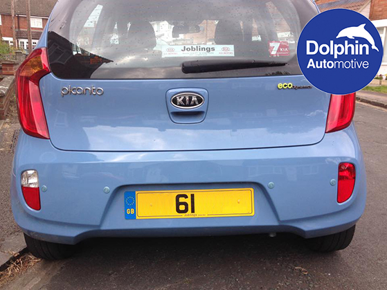 Kia Picanto with blue sensors