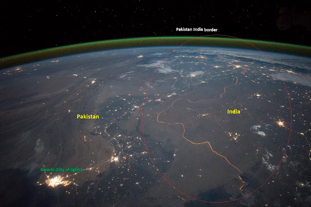 Pakistan, India, Border, Night, Lights, NASA, Karachi, Space, Astronaut, Indus, Boundary, Earth, Pak, Hindustan, Bharat, Photo, Image, HD, High Resolution, NASA Earth Observatory,