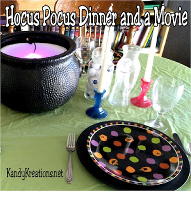 Make some fun and easy memories with your kids with a family themed dinner night.  This Hocus Pocus witch party is great for watching the Halloween movie Hocus Pocus.  You can use decorations and tableware you probably already have to create some amazing moments with your family at dinner tonight!