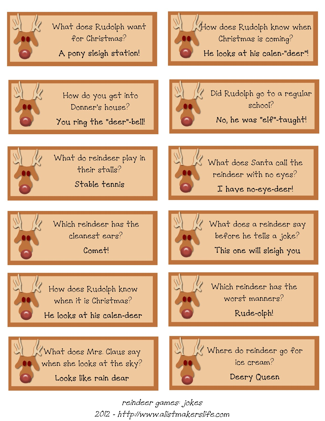 Uncategorized Christmas Riddles And Jokes reindeer riddles free printable a list makers life funnies using jokes i found all over the web no sense anyone else having to reinvent this document have uploaded it as download fo
